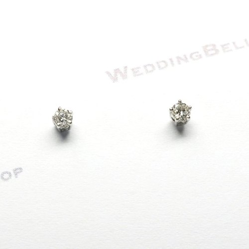 PT950 鉑金 爪鑲單顆圓鑽石耳環 / 耳針款 一對