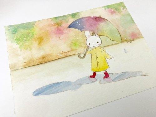 兔子下雨简笔画