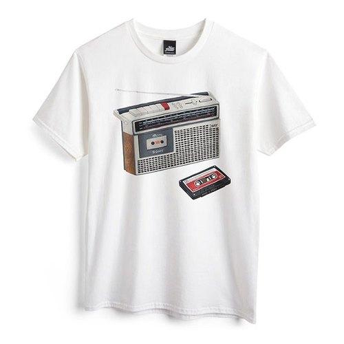 卡式收錄音機 - 白 - 中性版T恤