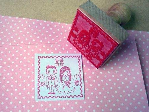 新人西式娃娃婚礼印章~婚礼对章~西式款 橡皮印章 木头章