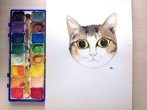 【疗愈创作】手绘 水彩画 客制 动物 宠物 猫咪 小狗