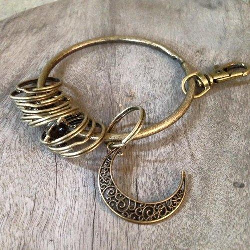 鑰匙圈/仿舊復古守門人大鑰匙圈-簍空希望之月