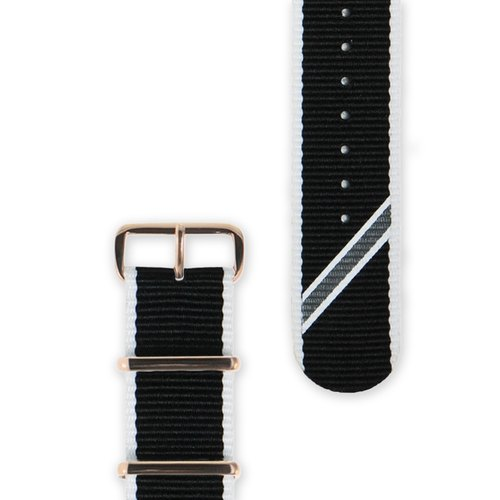 HYPERGRAND - Straight Jacquard Mono Strap 22mm黑白斜紋錶帶(玫瑰金釦)