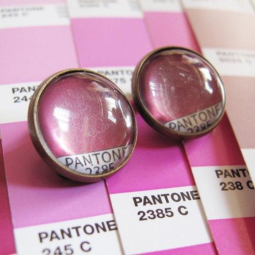 PANTONE 2385 色票圓形耳夾耳針