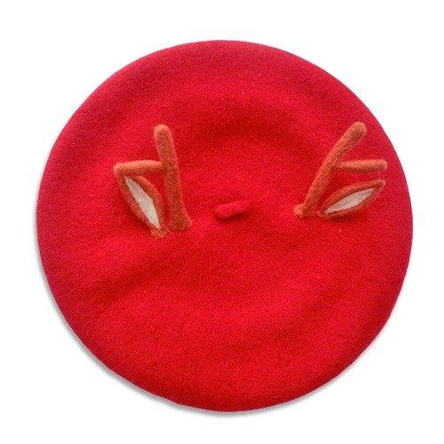 鹿角 圣诞礼物 红帽子 画家帽 贝雷帽 原创秋冬新品 羊毛毡手作
