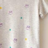 畫一個小幸福☆ 小牛、圓點點 小孩圓領米灰色綿t 2y-4y