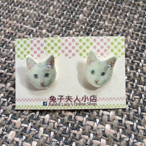 可爱的猫猫头像闪石耳环