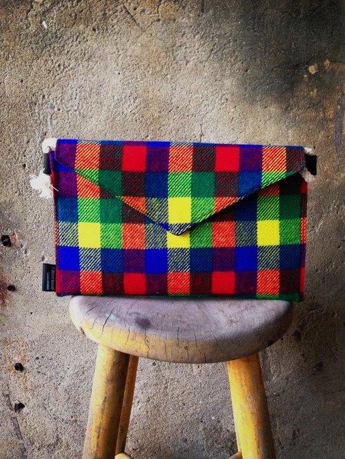 【手拿包/側揹包/信封包Dream Bag-繽紛強烈彩虹配色】