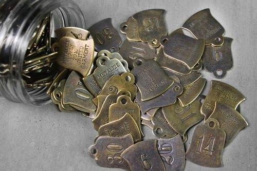 Lucky Brass Tag 黃銅製-老飯店鑰匙圈-吊鐘型