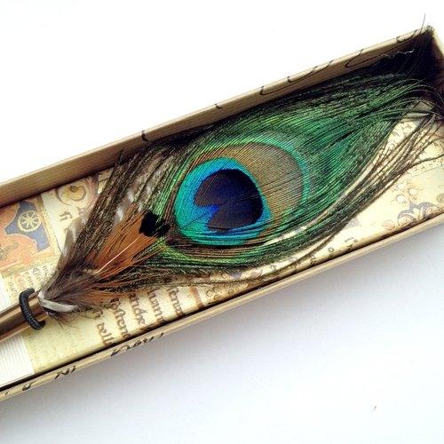 ◤ArtEC/09義大利羽毛沾水筆禮盒-藍孔雀  歐式 復古 書寫 羽毛筆 文具 Francesco Rubinato