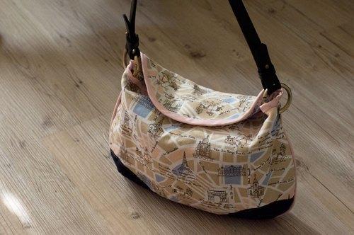 爱地球手作包*手绘地图风微笑弯包 | 选自己喜欢的布料