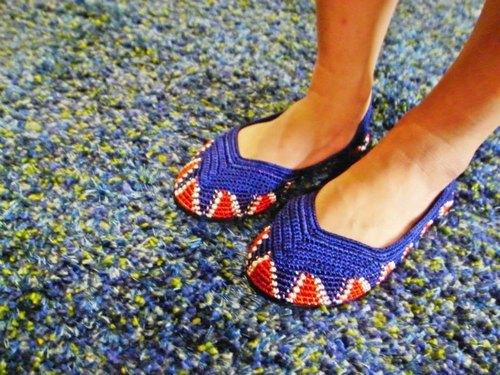 NG品免郵特價出清!印度手工編織鞋:藍靛紅