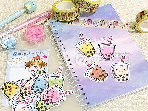 珍珠奶茶贴纸 - 可爱q版珍奶手帐贴纸组15入 - 手绘贴纸 - 饮料小贴纸