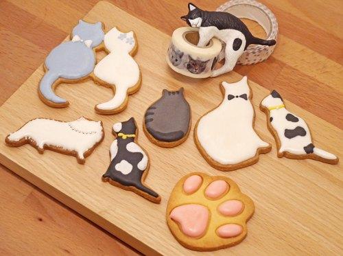 貪吃貓糖霜餅乾組 伴手禮 交換禮物 耶誕禮盒 收涎餅乾 貓咪 喵星人