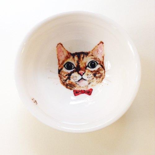 手绘大茶杯-橘子虎斑猫