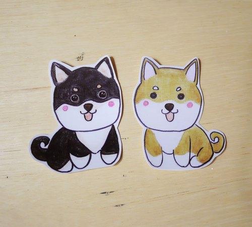 手绘插画风格 完全防水贴纸 柴犬 黑色 黄色 - 毛球