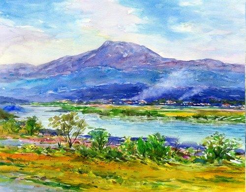 水彩画 信州风景斑尾山と千曲川