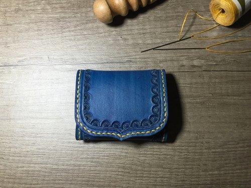 apee皮手工~皮雕零钱包~海军蓝