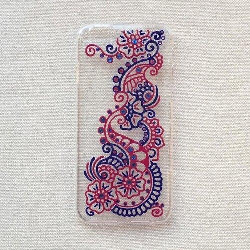 手绘透明手机壳 手机套 蓝色 玫红 iphone 7 6s samsung galaxy sonyl