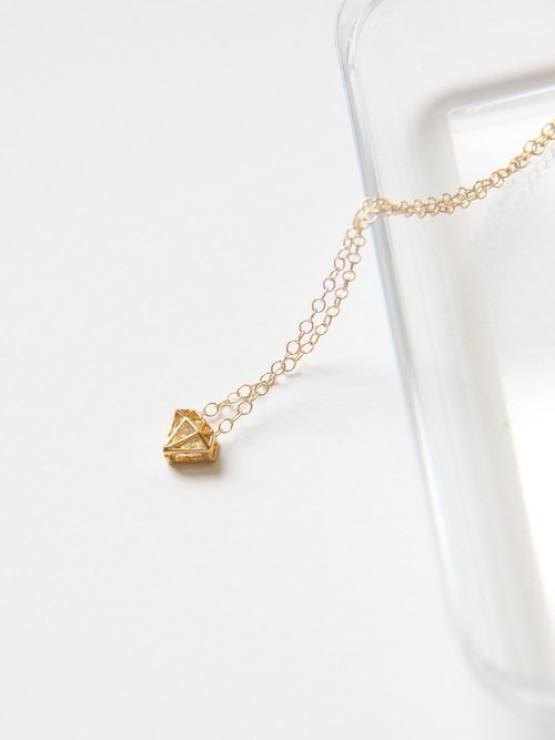 鑽+鑽 項鍊 (金) / Diamond shape charm with cubic Zirconia 14K GF pendant