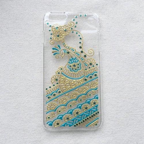 手绘透明手机壳 手机套 金色 蓝绿色 iphone 7 6s samsung galaxy