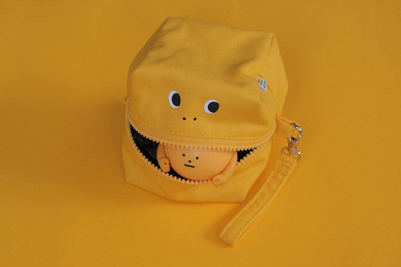 Yellow Glutton Monster Square (cube) Zip Purse (Yellow only)