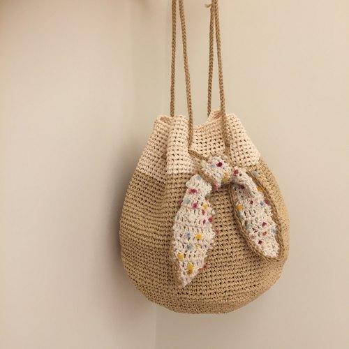 夏日纯手工编织小水桶包-棉质拉菲草