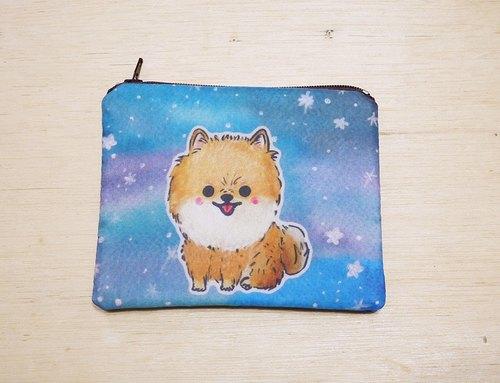 手绘渲染水彩风格图案 博美狗 松鼠狗 钥匙包 零钱包 卡片包