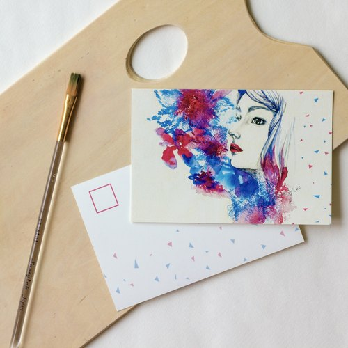 明信片/藍色城市裡的一抹紅少女