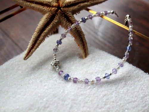 Journal 星砂糖罐-霂煙 / 天然丹泉石、紫水晶、月光石、珍珠純銀手鍊