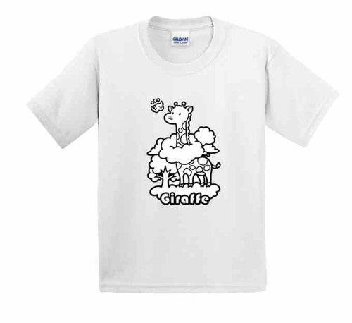 彩绘t恤 | 长颈鹿 | 美国棉t恤 | 童装 | 亲子装 | 礼物 |手绘 |白色