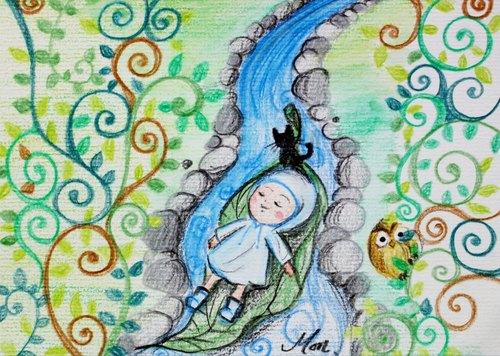 【插畫明信片】綠葉方舟 ● AxMon手繪插畫明信片