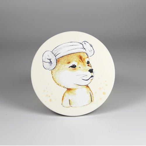 动物吸水陶瓷杯垫-泡汤柴犬