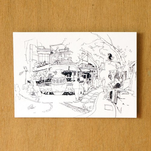 【一色】系列手绘风景明信片『台湾 莺歌陶瓷老街』