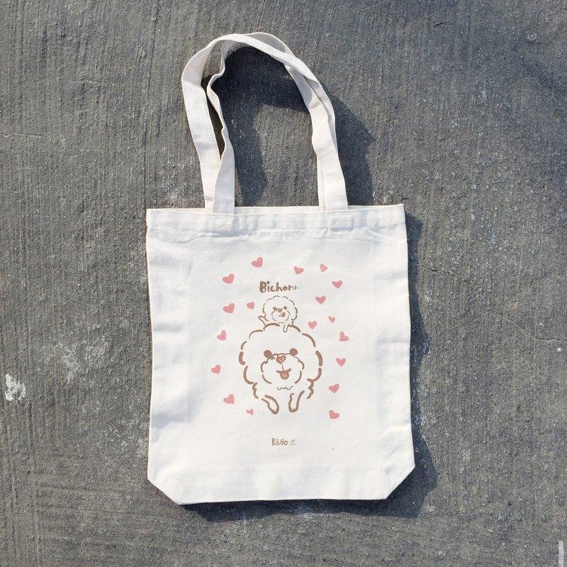 boho帆布包 手繪 比熊犬心花開