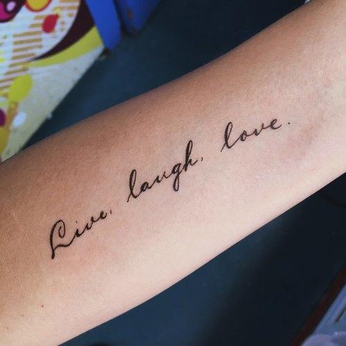 刺青图案 防水防敏纹身贴纸 夏天 小清新 快乐 live laugh love|lazy