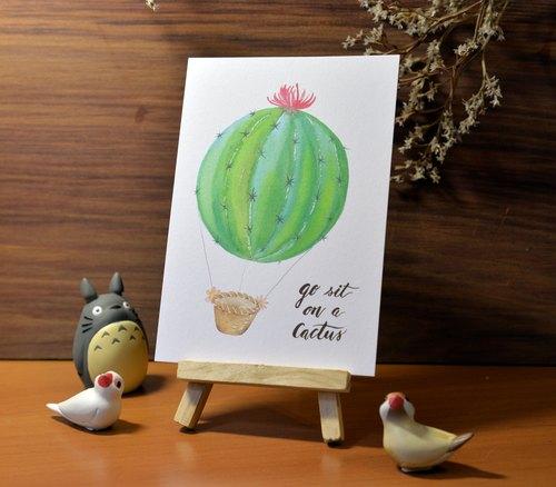 手绘水彩明信片-仙人掌热汽球