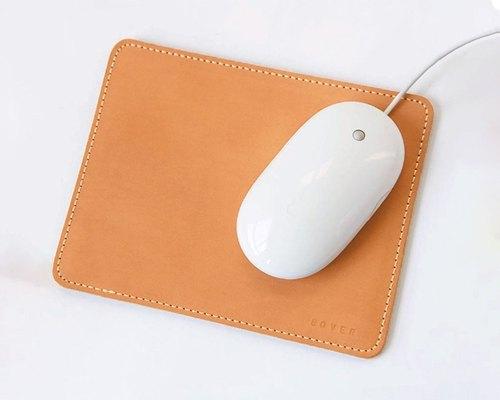 义大利植鞣革 手缝真皮滑鼠垫 牛皮鼠标垫 手工制作染色 可定制大小
