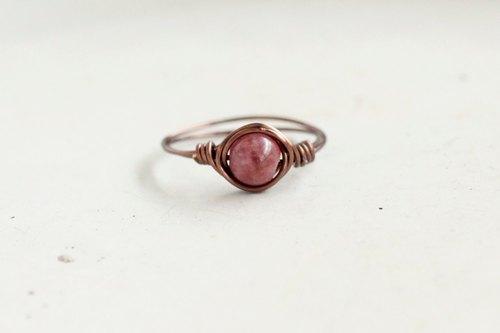 5mm玫瑰电气石 (碧玺) 铜线戒指 - 设计师 world