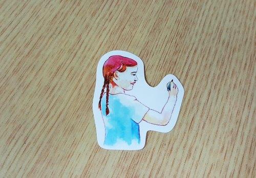 Bonnie 水彩手繪 渲染貼紙《熱寫女孩》