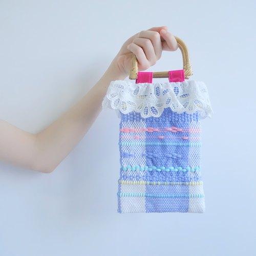 -烤竹子提手蓝色花边小提包