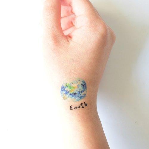 星空系列-地球 纹身贴纸
