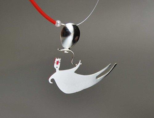 925纯银 彩搪瓷基克拉迪氢气球锁骨项链 卡通人偶吊坠坠子 拼色项圈