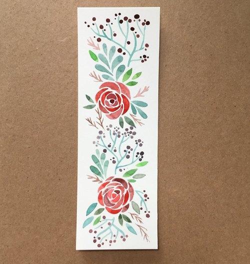 可爱简约玫瑰手绘水彩书签(原画)非印刷品礼物