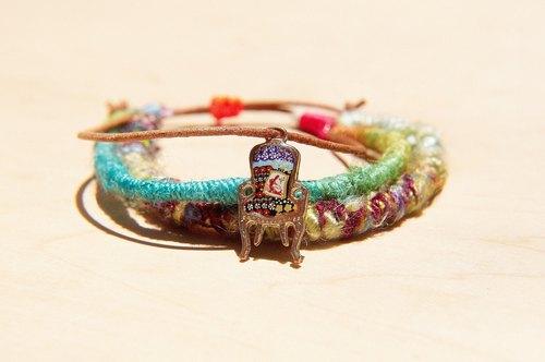 情人節禮物 真牛皮紗麗線手繩 手環 手鐲 - 鮮豔繽紛色華麗椅子 ( 可調式 )