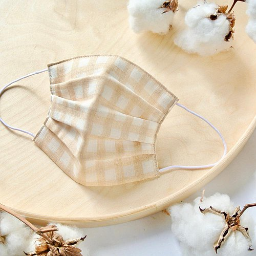 可洗涤,舒适且可爱的手工立体口罩 gingham beige 环保 手工制作纯棉
