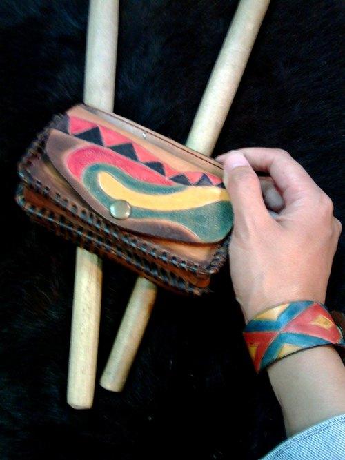 〖黑菱角〗手工皮雕多层万用小包及皮雕手环组