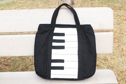 黑白拼接钢琴琴键手提包/公事包/托特包 - 布の自由式