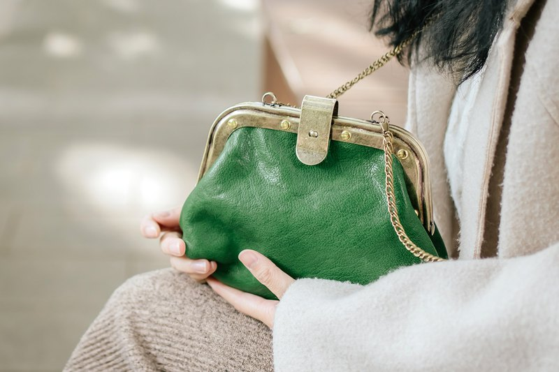 [Tangent school] traditional Japanese-style gold bag retro doctor bag ladies messenger bag handmade leather bag emerald green