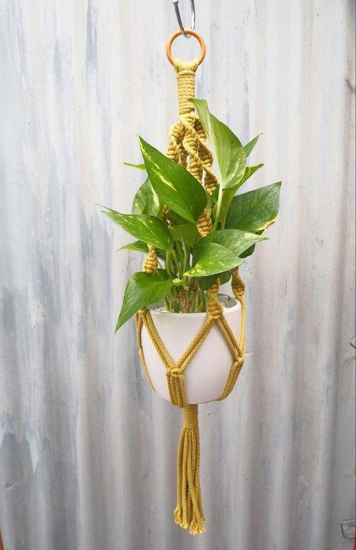 【生活小风景手工编织植物吊篮芥末黄缧旋编织花纹】